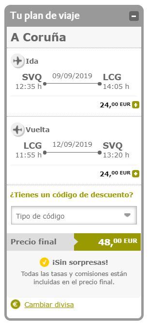 Vuela a Galicia en verano desde 24 euros trayecto