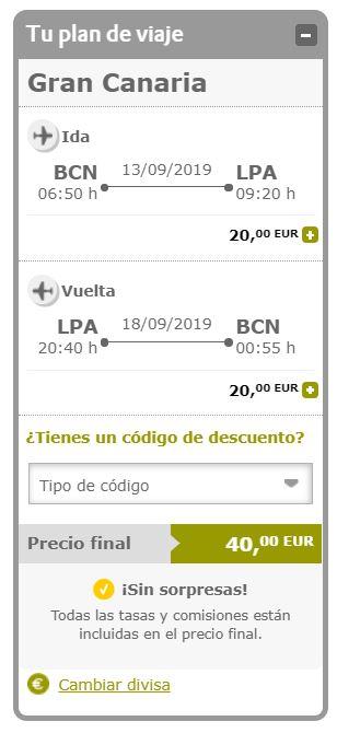 Vuela a Gran Canaria por 20 euros trayecto