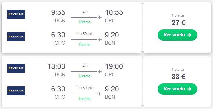 Vuelo Barcelona - Oporto en septiembre desde 27 euros