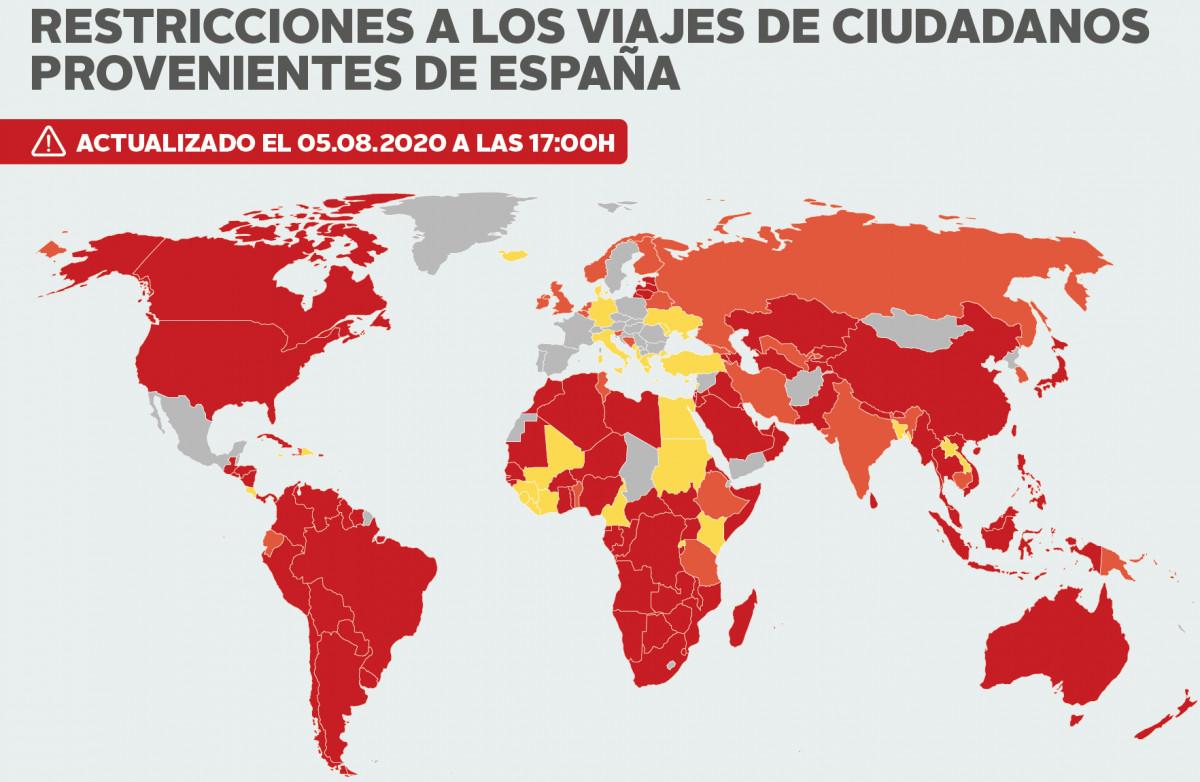 mapa de países que imponen cuarentena si viajas desde España COVID-19