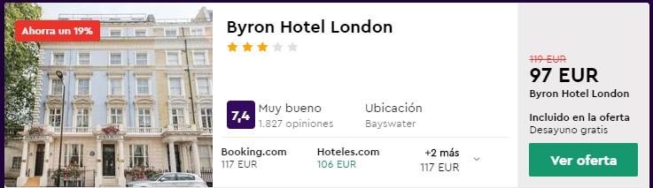 Hotel 3* en Londres para Fin de Semana en Marzo desde 48,50 euros por persona y noche