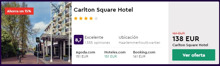 hotel 4 estrellas en abril en amsterdam desde 67 euros persona y noche
