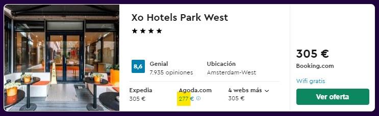 Hotel 4 estrellas en Ámsterdam centro desde 34 euros por persona y noche