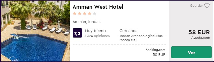 hotel 4 estrellas en jordania desde 25 euros por persona y noche
