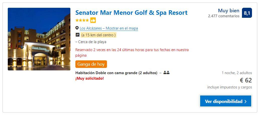 Hotel 4 estrellas en La Manga del Mar Menor por 31€ persona y noche