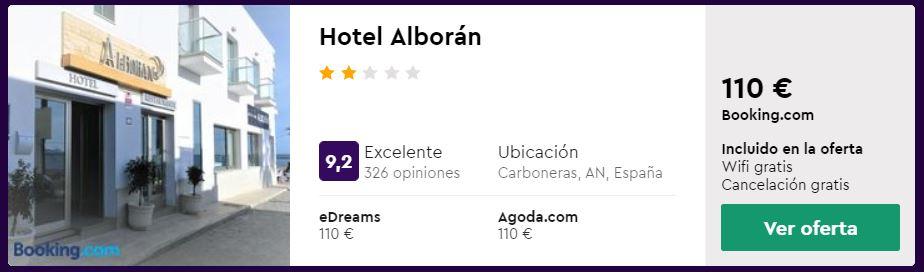 hotel a pie de playa en cabo de gata, carboneras, desde 55 euros persona y noche