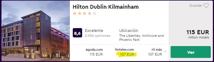Hotel Hilton 4 estrellas en Dublín centro desde 53,50 euros por persona y noche