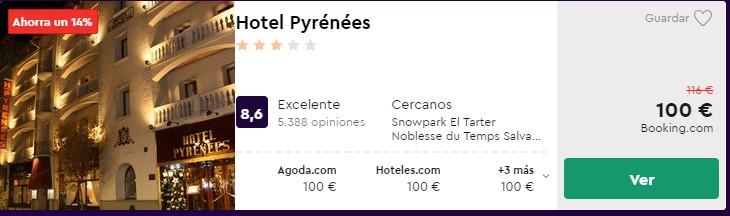Hotel 3 estrellas en Andorra la Vella desde 50 euros por persona y noche