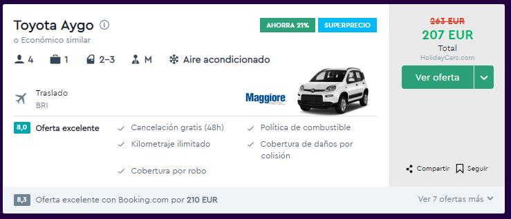 superprecio alquiler coche en bari para recorrer puglia 9 dias desde 207 euros