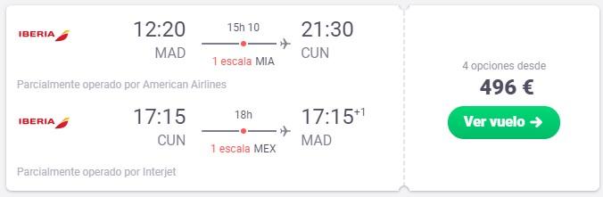 ¡Vacaciones en Cancún! Vuela desde 248 euros trayecto