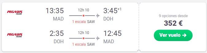 vuela a doha qatar desde 176 euros trayecto