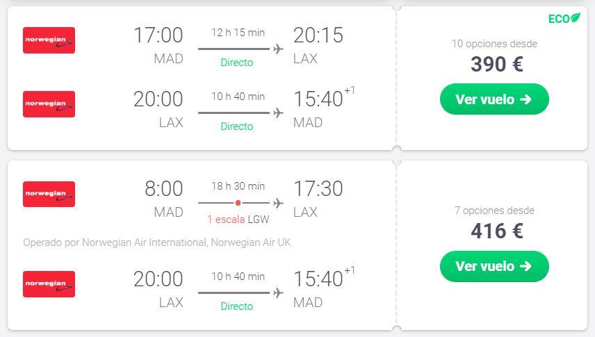 Los Ángeles por sólo 195€ trayecto