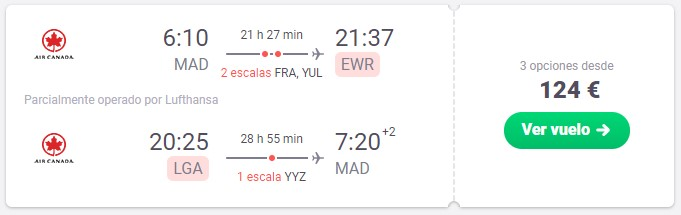 vuelo a nueva york desde 62 euros trayecto