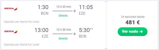 vuelo directo a argentina desde 240 euros trayecto
