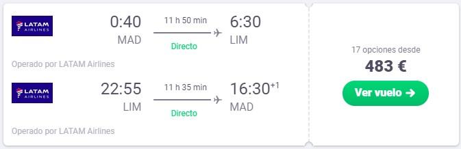 vuelo directo a peru desde 241 euros trayecto
