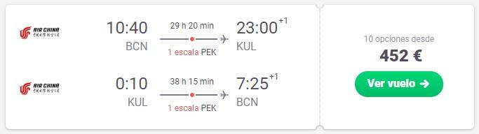 Vuela a Kuala Lumpur (y Pekín) desde 226€ trayecto
