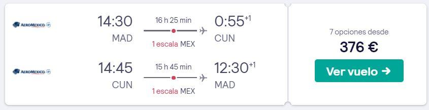 vuelos a cancun en 2020 desde 188 euros trayecto