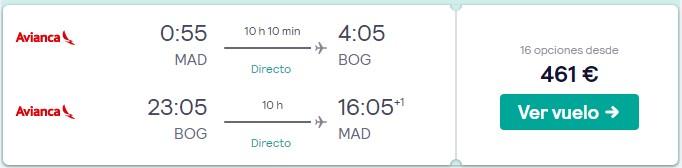 vuelos a colombia desde 230 euros trayecto