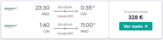 vuelos a el cairo y moscu desde 164 euros trayecto