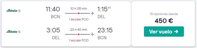 vuelos a la india y roma desde 225 euros trayecto en semana santa