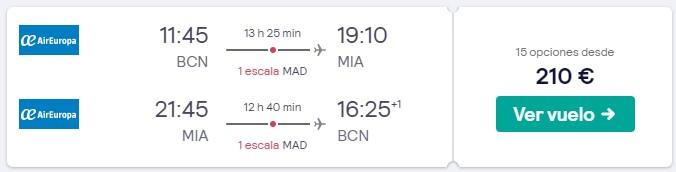 vuelos a miami en febrero 2020 desde 105 euros trayecto