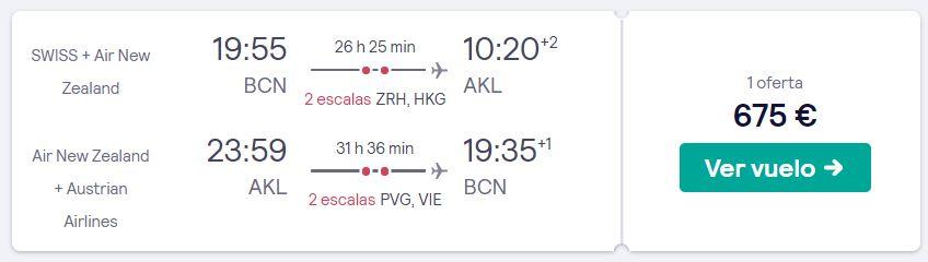 vuelos a nueva zelanda en marzo 2020 desde 337 euros trayecto
