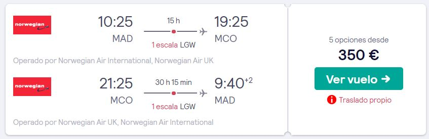 vuelos a orlando en febrero 2020 desde 175 euros trayecto