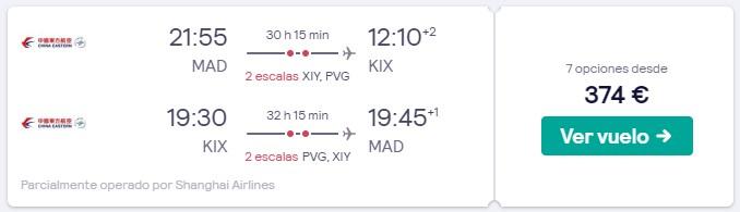vuelos a osaka en marzo desde 187 euros trayecto
