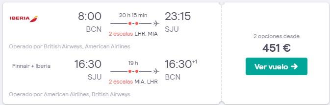 vuelos a puerto rico desde 225 euros trayecto