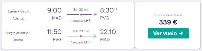 vuelos a shanghai en marzo 2020 desde 169 euros trayecto