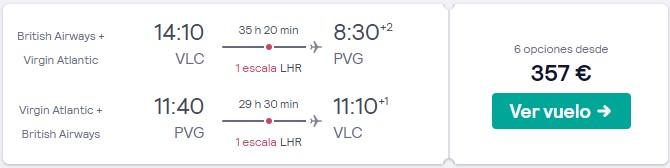 vuelos a shanghai y londres desde 178 euros trayecto