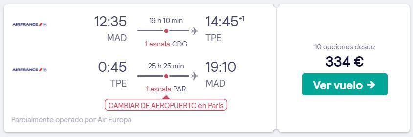 vuelos a taiwan en enero 2020 desde 167 euros trayecto