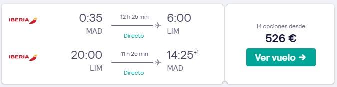 vuelos directos a peru en semana santa desde 263 euros trayecto